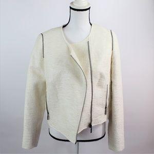 Catherine Malandrino Metallic Knit Zip Blazer Sz 8